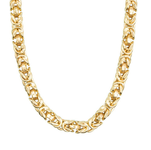 "Second Hand Italian 9ct Gold 18"" Thick & Chunky Byzantine Chain Necklace"
