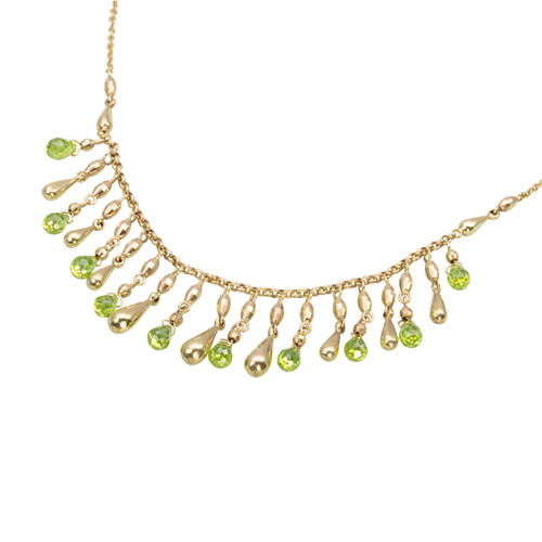 Second Hand 9ct Gold Green Beryl Teardrop Necklace