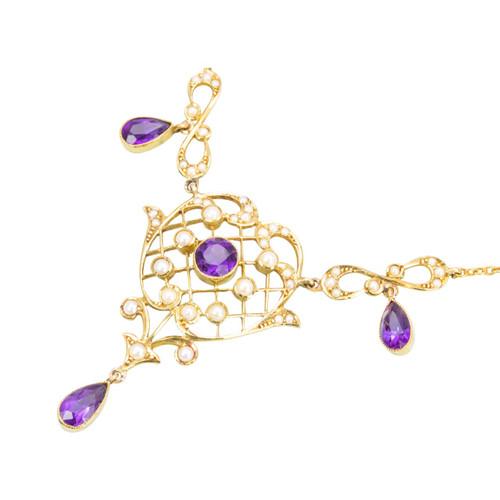 Antique Victorian 15ct Gold Amethyst & Pearl Belle Époque Necklace