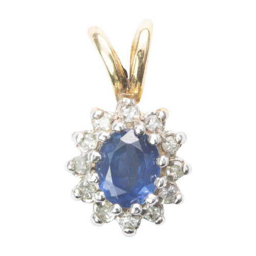 Second Hand 9ct Gold Sapphire and Diamond Cluster Pendant