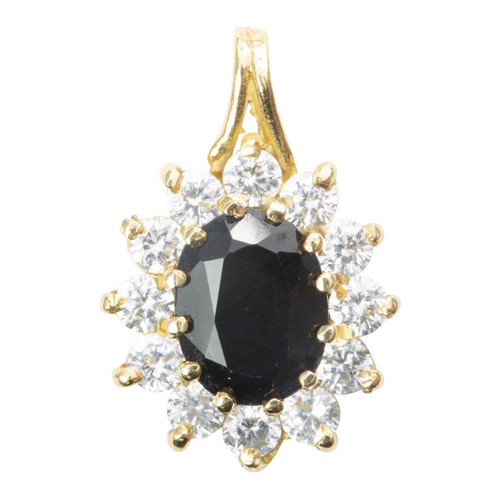 Second Hand 18ct Gold Sapphire and Cubic Zirconia Cluster Pendant