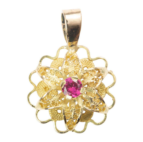 Second Hand 18ct Gold Ruby Cluster Flower Pendant