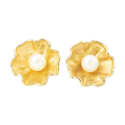 Second Hand 18ct Gold Pearl Flower Stud Earrings