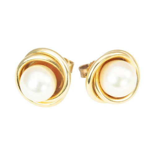 Second Hand 18ct Gold Cultured Pearl Swirl Stud Earrings