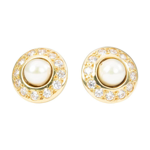 Second Hand 18ct Gold Pearl and Cubic Zirconia Cluster Stud Earrings