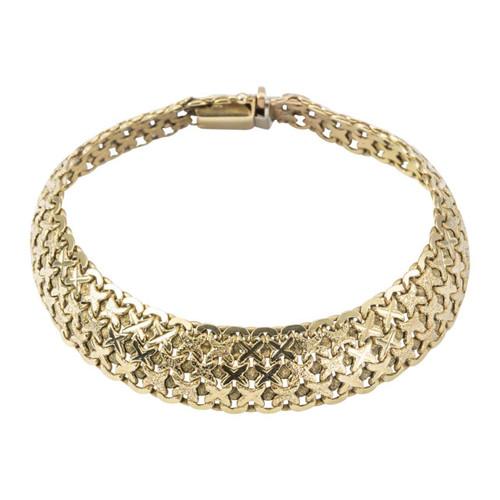 Second Hand 9ct Gold Cross Kisses Mesh Bracelet