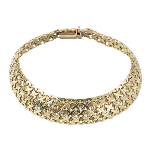 Second Hand 9ct Gold Cross Kisses Mesh Bracelet