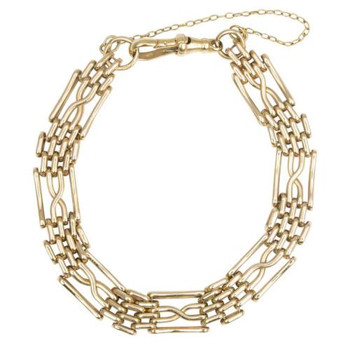 Vintage 9ct Gold Fancy 4 Bar Gate Bracelet with Dog Clip
