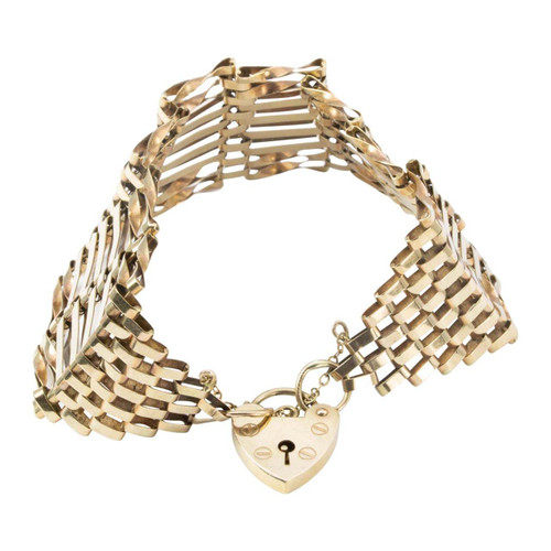 Second Hand 9ct Gold Wide 8 Bar Gate Bracelet with Heart Padlock