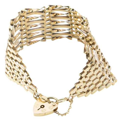 Second Hand 9ct Gold Wide 9 Bar Gate Bracelet with Heart Padlock