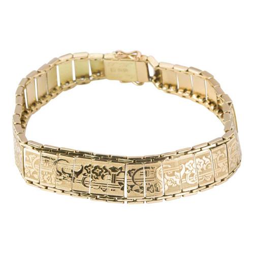 Vintage 1920s 14ct Gold Embossed Floral Design Bracelet