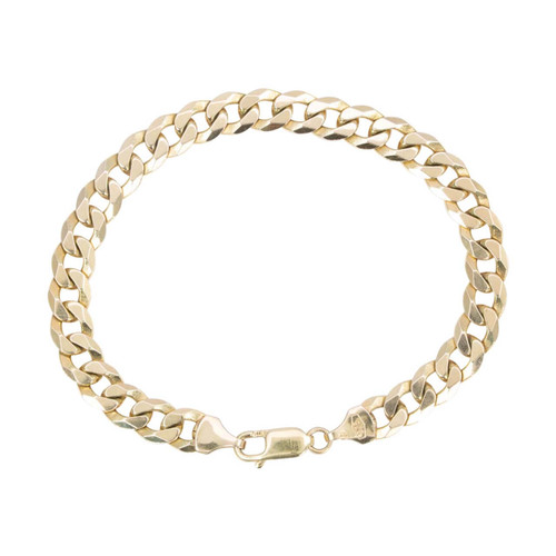 Second Hand 9ct Gold Heavy Flat Curb Bracelet