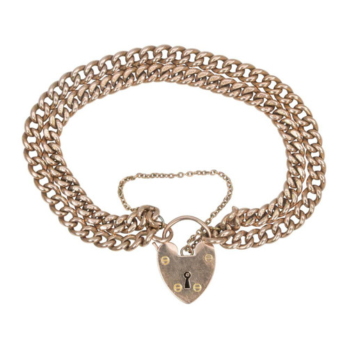 Antique 9ct Rose Gold Double Curb Charm Bracelet with Heart Padlock