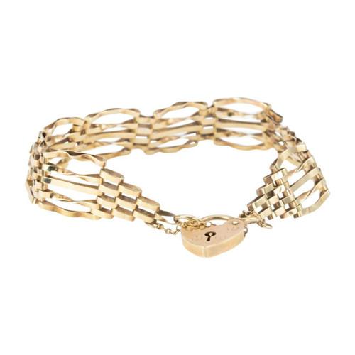 Second Hand 9ct Gold 5 Bar Gate Bracelet with Heart Padlock