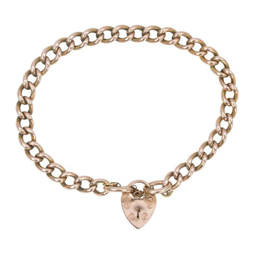 Antique 9ct Rose Gold Curb Charm Bracelet with Heart Padlock
