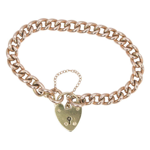 Antique 9ct Rose Gold Curb Charm Bracelet and Heart Padlock