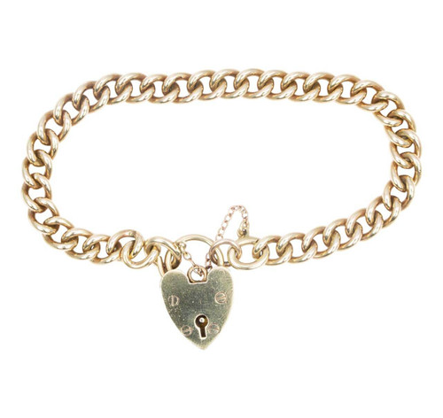 Antique 9ct Gold Curb Charm Bracelet and Heart Padlock