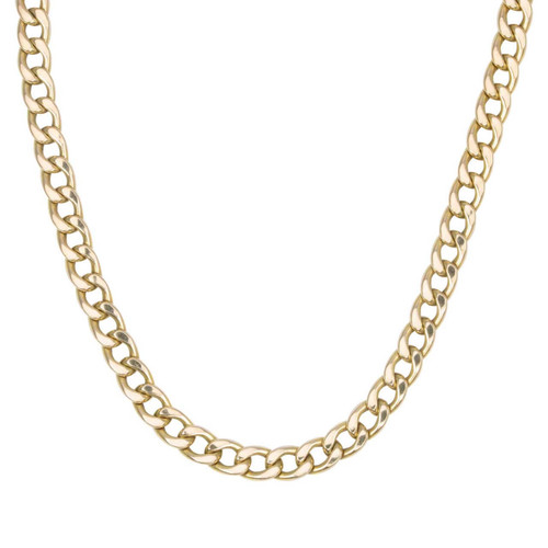 "Second Hand 22"" 9ct Gold Flat Curb Chain Necklace"