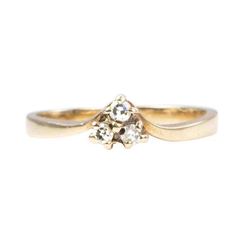 Second Hand 9ct Gold 3 Stone Diamond Wishbone Ring