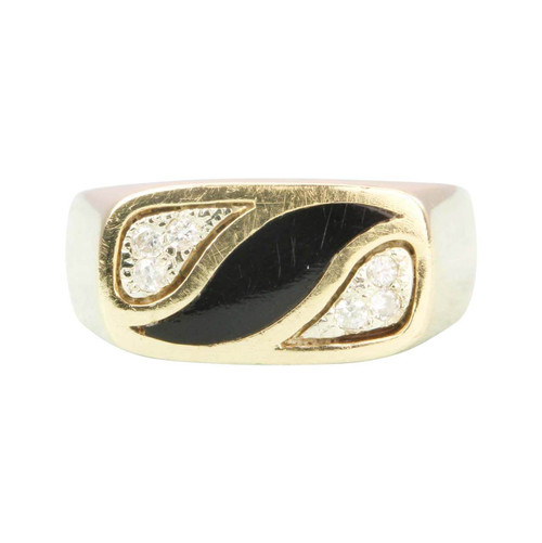 Second Hand 14ct Gold Onyx and Diamond Signet Ring