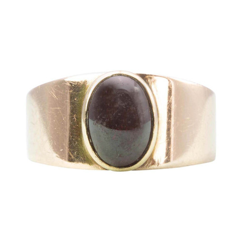 Second Hand 9ct Gold Cabochon Garnet Wide Band Ring