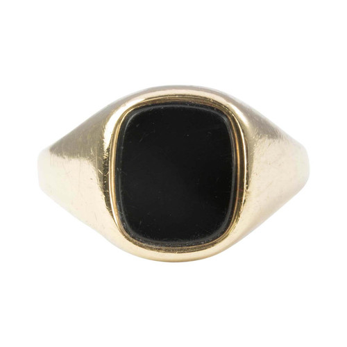 Second Hand 9ct Gold Rectangle Cushion Onyx Signet Ring