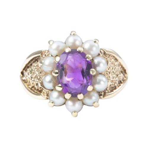 Second Hand 9ct Gold Amethyst and Pearl Cluster Ring