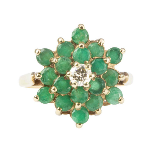 Second Hand 9ct Gold Emerald and Diamond Cluster Ring
