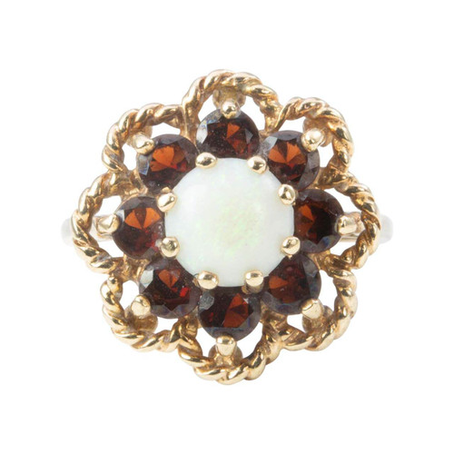 Second Hand Opal and Garnet Cluster Ring