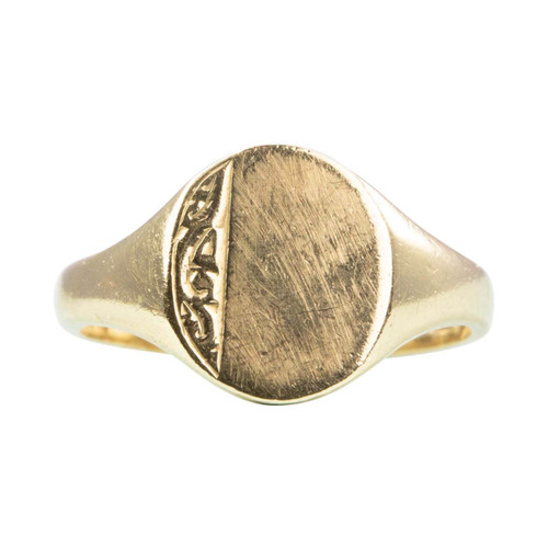 Second Hand 9ct Gold Small Oval Face Signet Ring