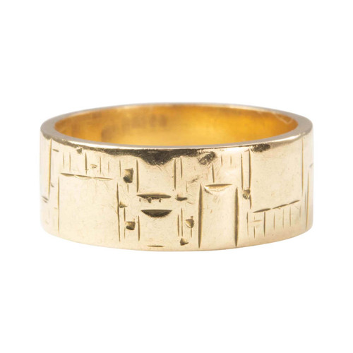 Second Hand 9ct Gold Small Geometric Embossed Wedding Ring