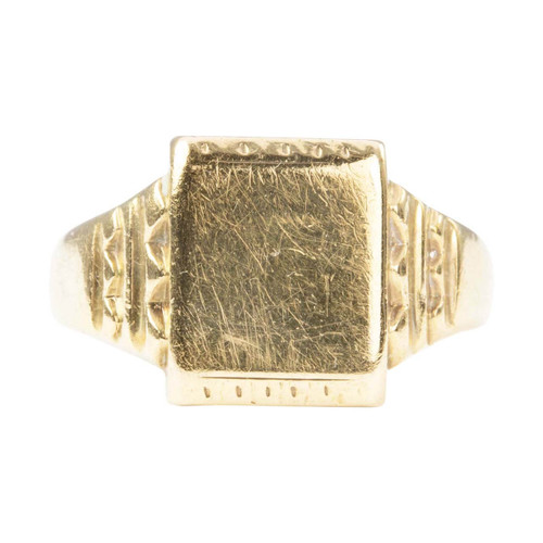 Second Hand 9ct Gold Rectangle Face Signet Ring