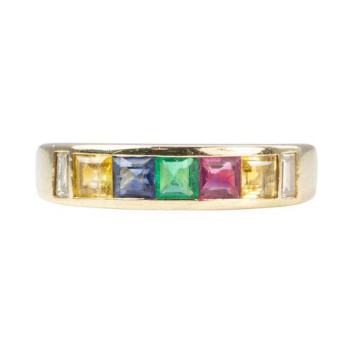 Second Hand 14ct Gold Diamond and Multi-Stone Half Eternity Ring