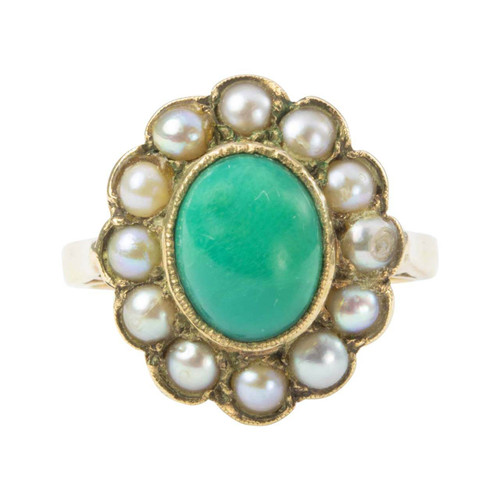 Vintage 9ct Gold Turquoise and Pearl Cluster Ring