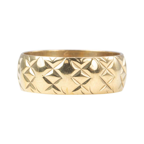 Second Hand 9ct Gold Kiss Cross Embossed Wedding Ring