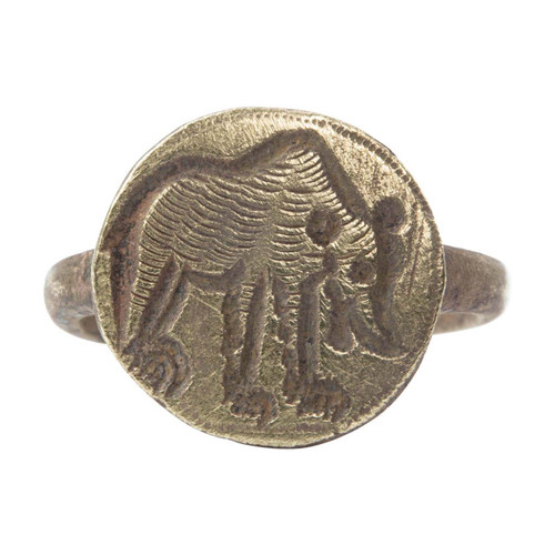 Medieval Bronze Bear Signet Ring