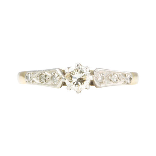 Vintage 18ct Gold Solitaire 0.20 Carat Diamond with Diamond Shoulders Ring