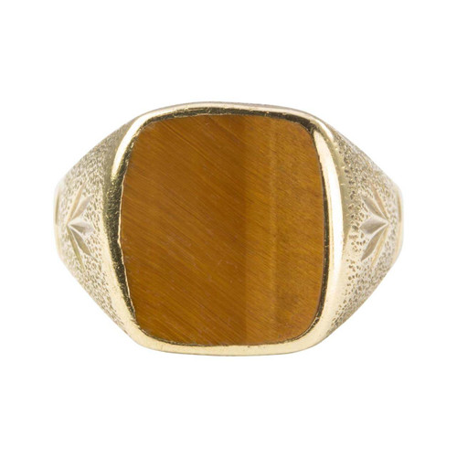 Second Hand 9ct Gold Rectangle Cushion Tiger Eye Signet Ring