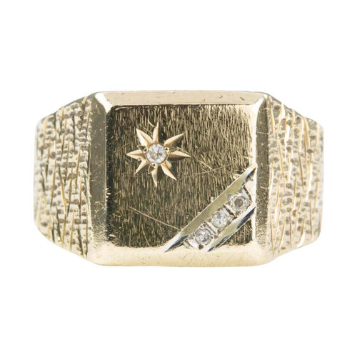 Second Hand 9ct Gold Square Faced Diamond Signet Ring