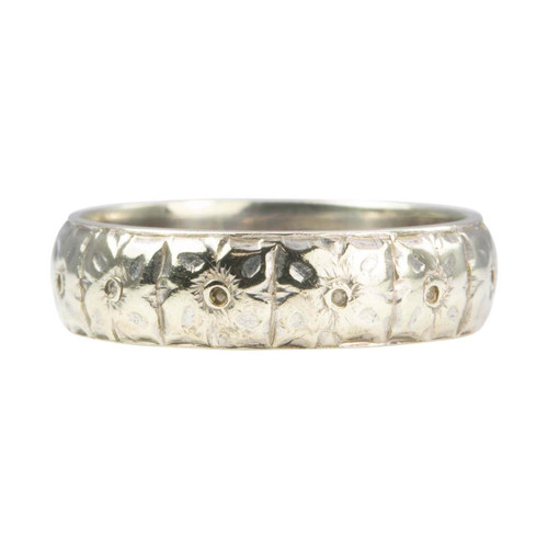 Second Hand 9ct White Gold Floral Embossed Wedding Ring