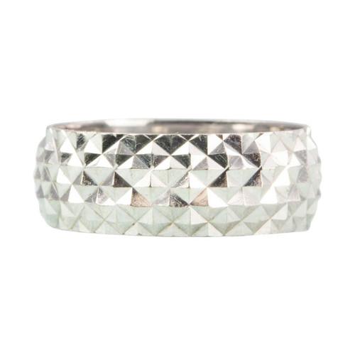 Vintage 18ct White Gold Diamond Cut Wedding Band Ring
