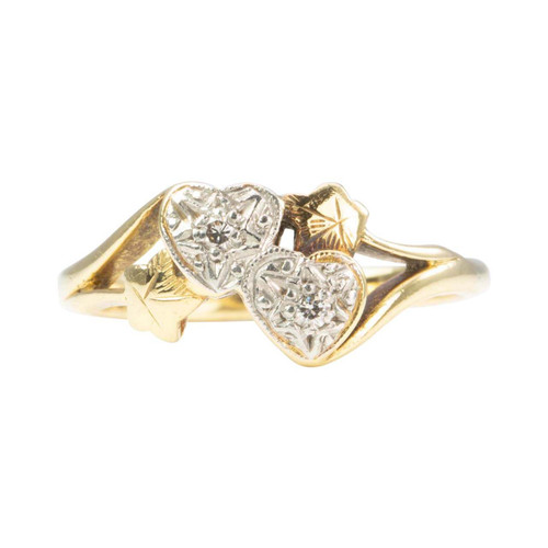 Second Hand 18ct Gold 2 Diamond Hearts Ring