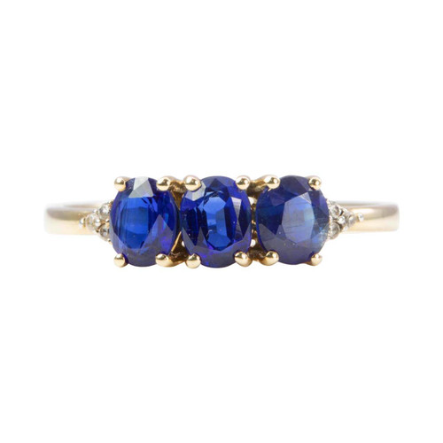 Second Hand 10k Gold 3 Stone Sapphire & Diamond Shoulders Ring