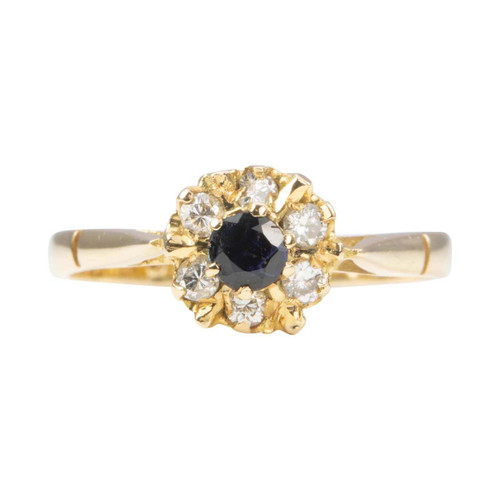 Second Hand 18ct Gold Sapphire and Diamond Cluster Ring