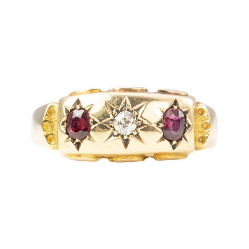 Antique 18ct Gold Ruby and Diamond 3 Stone Gypsy Ring