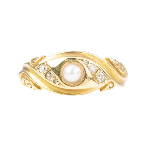 Antique 18ct Gold Pearl & Diamond Ring