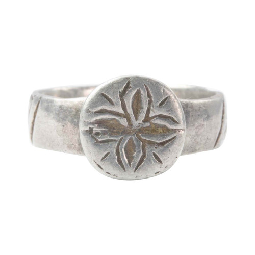 Antique 17th-18th Century Silver Floral Cross Ring