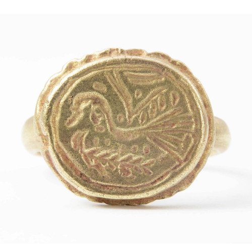Roman Bronze Ring with Engraved Bird