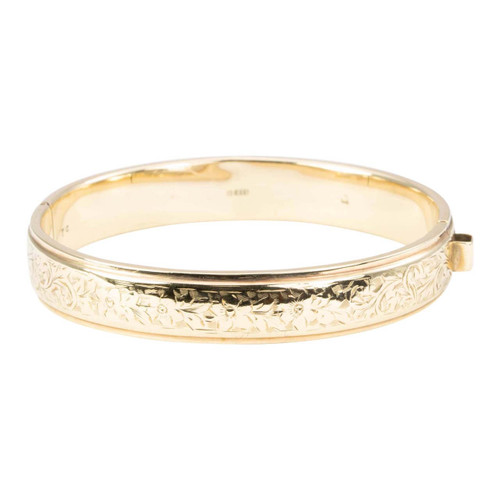 Vintage 9ct Gold Floral Engraved Bangle