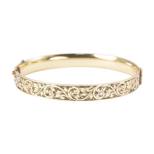 Vintage 9ct Gold on Metal Core Floral Engraved Bangle
